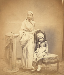 Studio portrait of an Parsee woman and child, Bombay.